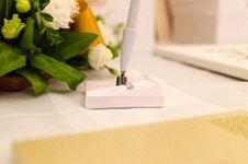 Free Flower Arrangement And Pen Stock Images - 84936224