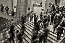 Free Greyscale Photo Of People Going Up And Down The Stairs Stock Photos - 84936323