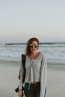 Free Women In Gray Sweater On Seashore Royalty Free Stock Photos - 84936378