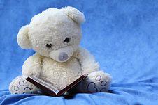 Free White Teddy Bear Reading Book Royalty Free Stock Photo - 84936425