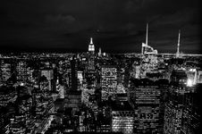 Free Skyscrapers With Lit Windows At Night Royalty Free Stock Photography - 84936787