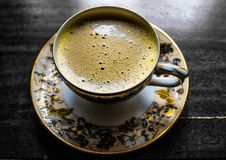 Free Cup Of Coffee On Porcelain Saucer Royalty Free Stock Images - 84937629