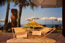Free Model Of Parasole And Sunbeds Royalty Free Stock Image - 84938046