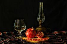 Free Pomegranate With Retro Tableware Stock Images - 84938444