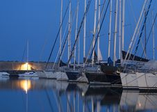 Free Boats In Harbor At Night Stock Photo - 84948840