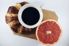 Free Croissant Coffee And Grapefruit Stock Image - 84952631