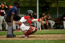 Free White And Red Baseball Player With Black Face Helmet And Brown Leather Mitts Royalty Free Stock Photo - 84952665