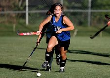 Free Woman Wearing Blue And Black Jersey Holding Field Hockey Stock Photo - 84952680