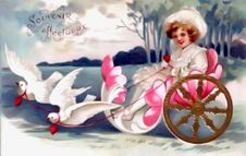 Free Vintage Valentine Doves Pulling Little Girl Stock Image - 84954161