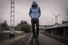 Free Loneliness Man On Railway Royalty Free Stock Images - 84955119