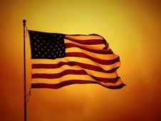 Free USA Flag On Yellow Backdrop Royalty Free Stock Photo - 84955415