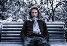 Free Boy On Park Bench In Winter Stock Photos - 84957513