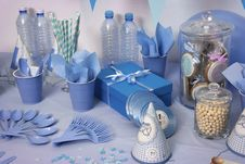 Free Blue Birthday Table Setting Royalty Free Stock Image - 84958546