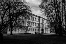 Free Black And White Picture Of Building Surrounded By Trees Royalty Free Stock Image - 84963896