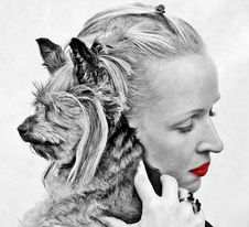 Free Selective Color Photography Of Woman Holding Yorkshire Terrier Stock Photo - 84964350