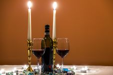 Free Wines Glasses With Romantic Candles Royalty Free Stock Photo - 84965275