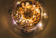 Free Pine Cones And Led Lights In Bowl Royalty Free Stock Photos - 84965908