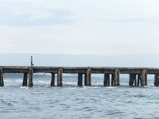 Free Person Walking On Ocean Pier Royalty Free Stock Photography - 84967767