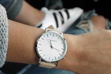 Free Beige Strap Silver Round Analog Watch Behind Adidas White And Black Superstar Stock Image - 84968431