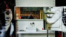 Free White Ceramic Rectangular Sink Under White Wooden Frame Rectangular Mirror Stock Photography - 84968442