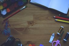 Free Artwork Materials On Wooden Table Stock Photo - 84968680