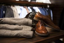 Free Trousers And Shoes In Store Stock Photos - 84969843