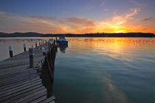 Free Wooden Pontoon At Sunset Royalty Free Stock Image - 84970186