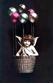 Free ViVintage Girl In Basket With Balloonsntage Girl In Basket With Balloons Edited Royalty Free Stock Photos - 84982568