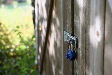 Free Combination Lock On Wooden Door Stock Image - 84991881