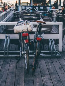 Free Bicycles Parked Outside Cafe Stock Image - 84997541