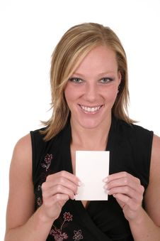 Woman Holding Blank Card 8 Royalty Free Stock Photos