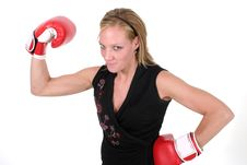 Free Beautiful Business Woman In Boxing Gloves Royalty Free Stock Images - 850049