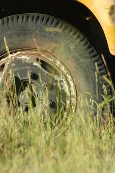 Old Truck Tyre Stock Photography