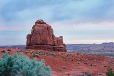 Free Butte On Cloudy Sunrise Royalty Free Stock Photos - 854858
