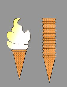 Ice Cream & Stacked Cones Royalty Free Stock Photo