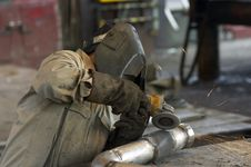 Free Pipe Worker Royalty Free Stock Photography - 856097