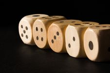 Free Row Of Wooden Dice Royalty Free Stock Image - 857096