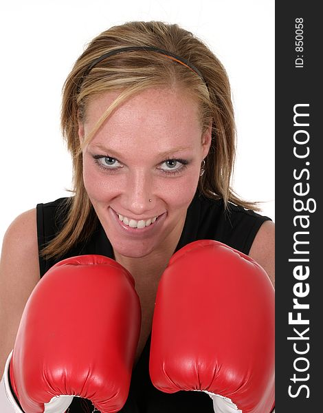Beautiful Business Woman In Boxing Gloves 5