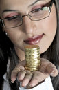 Free Girl With Gold Coins Royalty Free Stock Photography - 8502287