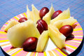 Free Plate Of Plums And Melon Royalty Free Stock Image - 8505676
