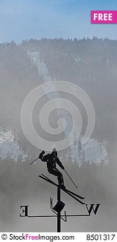 Free Skier Windvane Royalty Free Stock Photography - 8501317