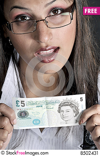 Free Girl With Currency Stock Image - 8502431
