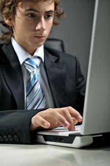 Free Businessman Using Laptop Stock Photo - 8500060