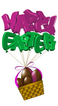 Free Basket Of Easter Chocolate Eggs Royalty Free Stock Photos - 8500758