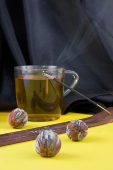 Free Aromatic Stick And Green Tea Stock Image - 8501311