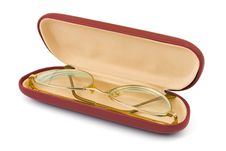 Free Retro Golden Glasses In Case Stock Image - 8501451