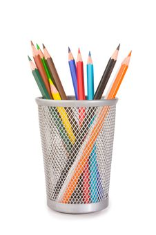 Free Coloured Pencils In Plastic Glass Royalty Free Stock Images - 8504609