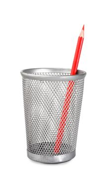 Free Red Pencil In Plastic Glass Royalty Free Stock Images - 8504649
