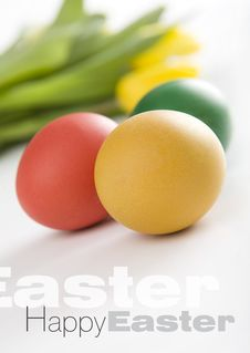 Free Colorful Easter Eggs And Yellow Tulips Royalty Free Stock Images - 8506229