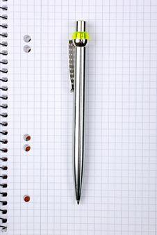 Free Ballpoint Pen On Notebook. Stock Photography - 8506462